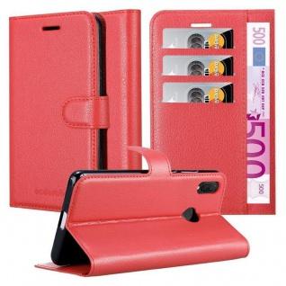 Cadorabo Hülle für Huawei P SMART PLUS in KARMIN ROT Handyhülle mit Magnetverschluss, Standfunktion und Kartenfach Case Cover Schutzhülle Etui Tasche Book Klapp Style