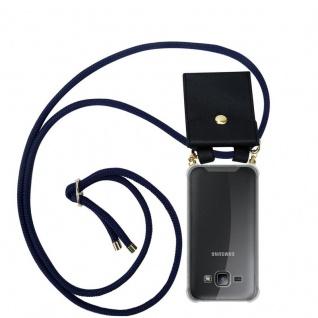 Cadorabo Handy Kette für Samsung Galaxy J1 2015 in TIEF BLAU - Silikon Necklace Umhänge Hülle mit Gold Ringen, Kordel Band Schnur und abnehmbarem Etui ? Schutzhülle