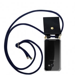 Cadorabo Handy Kette für Samsung Galaxy A3 2017 in TIEF BLAU - Silikon Necklace Umhänge Hülle mit Gold Ringen, Kordel Band Schnur und abnehmbarem Etui ? Schutzhülle