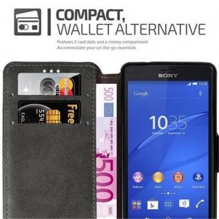 Cadorabo Hülle für Sony Xperia Z3 COMPACT - Hülle in MATT GRAU ? Handyhülle mit Standfunktion und Kartenfach im Retro Design - Case Cover Schutzhülle Etui Tasche Book Klapp Style