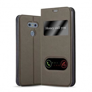 Cadorabo Hülle für LG G6 in STEIN BRAUN - Handyhülle mit Magnetverschluss, Standfunktion und 2 Sichtfenstern - Case Cover Schutzhülle Etui Tasche Book Klapp Style