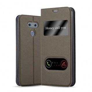 Cadorabo Hülle für LG G6 in STEIN BRAUN Handyhülle mit Magnetverschluss, Standfunktion und 2 Sichtfenstern Case Cover Schutzhülle Etui Tasche Book Klapp Style