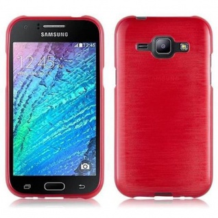 Cadorabo Hülle für Samsung Galaxy J1 2015 in ROT - Handyhülle aus flexiblem TPU Silikon - Silikonhülle Schutzhülle Ultra Slim Soft Back Cover Case Bumper