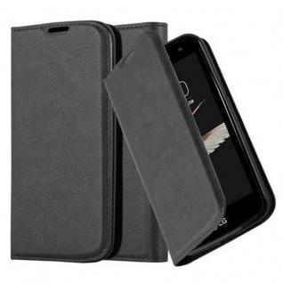 Cadorabo Hülle für LG K4 2016 in NACHT SCHWARZ Handyhülle mit Magnetverschluss, Standfunktion und Kartenfach Case Cover Schutzhülle Etui Tasche Book Klapp Style