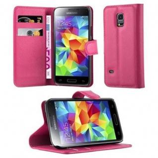 Cadorabo Hülle für Samsung Galaxy S5 MINI / S5 MINI DUOS in CHERRY PINK Handyhülle mit Magnetverschluss, Standfunktion und Kartenfach Case Cover Schutzhülle Etui Tasche Book Klapp Style