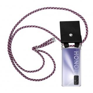 Cadorabo Handy Kette für Honor 30 in ROT WEISS Silikon Necklace Umhänge Hülle mit Silber Ringen, Kordel Band Schnur und abnehmbarem Etui Schutzhülle
