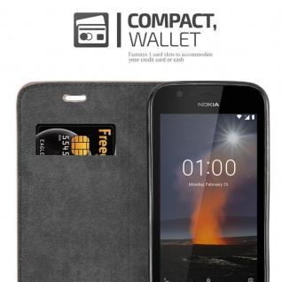 Cadorabo Hülle für Nokia 1 2017 in KAFFEE BRAUN - Handyhülle mit Magnetverschluss, Standfunktion und Kartenfach - Case Cover Schutzhülle Etui Tasche Book Klapp Style - Vorschau 3
