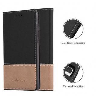 Cadorabo Hülle für Huawei P8 LITE 2015 in SCHWARZ BRAUN ? Handyhülle mit Magnetverschluss, Standfunktion und Kartenfach ? Case Cover Schutzhülle Etui Tasche Book Klapp Style