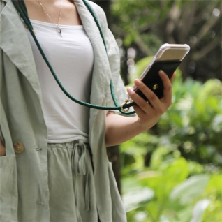 Cadorabo Handy Kette für Samsung Galaxy J8 2018 in ARMEE GRÜN - Silikon Necklace Umhänge Hülle mit Gold Ringen, Kordel Band Schnur und abnehmbarem Etui ? Schutzhülle - Vorschau 3