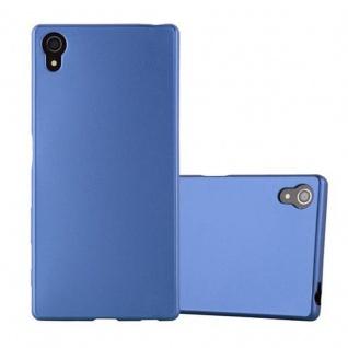 Cadorabo Hülle für Sony Xperia Z5 - Hülle in METALLIC BLAU ? Handyhülle aus TPU Silikon im Matt Metallic Design - Ultra Slim Soft Backcover Case Bumper