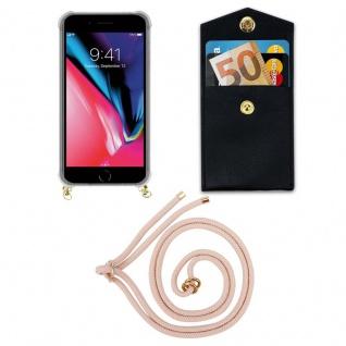 Cadorabo Handy Kette für Apple iPhone 8 PLUS / 7 PLUS / 7S PLUS in PERLIG ROSÉGOLD - Silikon Necklace Umhänge Hülle mit Gold Ringen, Kordel Band Schnur und abnehmbarem Etui ? Schutzhülle - Vorschau 5