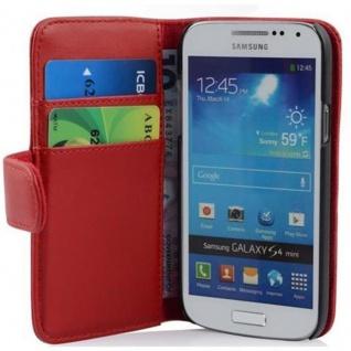 Cadorabo Hülle für Samsung Galaxy S4 MINI - Hülle in CHILI ROT ? Handyhülle mit Kartenfach aus glattem Kunstleder - Case Cover Schutzhülle Etui Tasche Book Klapp Style