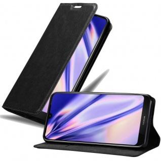 Cadorabo Hülle für Nokia 3.2 in NACHT SCHWARZ Handyhülle mit Magnetverschluss, Standfunktion und Kartenfach Case Cover Schutzhülle Etui Tasche Book Klapp Style