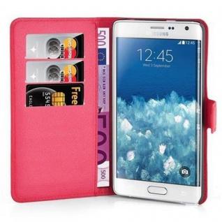 Cadorabo Hülle für Samsung Galaxy NOTE EDGE in KARMIN ROT - Handyhülle mit Magnetverschluss, Standfunktion und Kartenfach - Case Cover Schutzhülle Etui Tasche Book Klapp Style