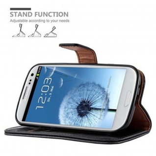 Cadorabo Hülle für Samsung Galaxy S3 / S3 NEO in GRAPHIT SCHWARZ ? Handyhülle mit Magnetverschluss, Standfunktion und Kartenfach ? Case Cover Schutzhülle Etui Tasche Book Klapp Style - Vorschau 5