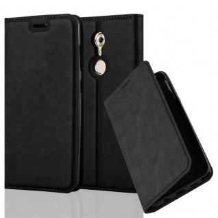 Cadorabo Hülle für ZTE AXON 7 MINI in NACHT SCHWARZ - Handyhülle mit Magnetverschluss, Standfunktion und Kartenfach - Case Cover Schutzhülle Etui Tasche Book Klapp Style