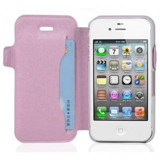 Cadorabo Hülle für Apple iPhone 4 / iPhone 4S - Hülle in ICY ROSE - Handyhülle mit Standfunktion und Kartenfach im Ultra Slim Design - Case Cover Schutzhülle Etui Tasche Book