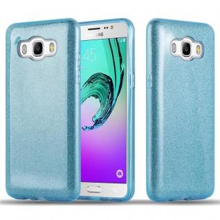 Cadorabo Hülle für Samsung Galaxy J5 2016 - Hülle in STERNENSTAUB BLAU ? TPU Silikon und Hardcase Handyhülle im Glitzer Design - Hard Case TPU Silikon Schutzhülle