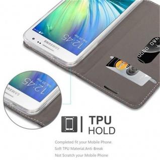 Cadorabo Hülle für Samsung Galaxy A3 2015 in GRAU SCHWARZ - Handyhülle mit Magnetverschluss, Standfunktion und Kartenfach - Case Cover Schutzhülle Etui Tasche Book Klapp Style - Vorschau 4