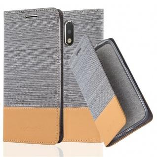 Cadorabo - Book Style Schutz-Hülle für Lenovo (Motorola) MOTO G4 PLUS case cover im Stoff - Kunstleder Design mit Kartenfach, Standfunktion und unsichtbarem Magnet-Verschluss in HELLGRAU-BRAUN