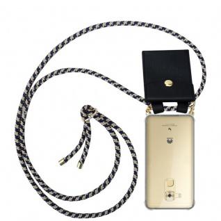 Cadorabo Handy Kette für Huawei NOVA PLUS in DUNKELBLAU GELB - Silikon Necklace Umhänge Hülle mit Gold Ringen, Kordel Band Schnur und abnehmbarem Etui ? Schutzhülle