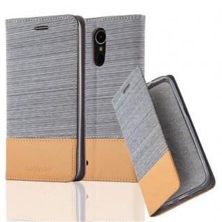 Cadorabo Hülle für LG K10 2017 in HELL GRAU BRAUN - Handyhülle mit Magnetverschluss, Standfunktion und Kartenfach - Case Cover Schutzhülle Etui Tasche Book Klapp Style