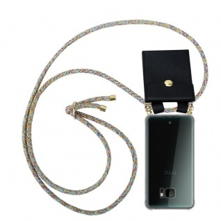 Cadorabo Handy Kette für HTC U ULTRA in RAINBOW - Silikon Necklace Umhänge Hülle mit Gold Ringen, Kordel Band Schnur und abnehmbarem Etui ? Schutzhülle