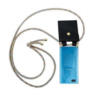 Cadorabo Handy Kette für Oppo A12 in RAINBOW Silikon Necklace Umhänge Hülle mit Gold Ringen, Kordel Band Schnur und abnehmbarem Etui Schutzhülle