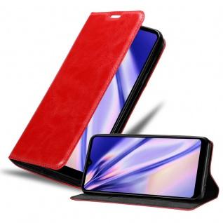 Cadorabo Hülle für LG K50s in APFEL ROT Handyhülle mit Magnetverschluss, Standfunktion und Kartenfach Case Cover Schutzhülle Etui Tasche Book Klapp Style