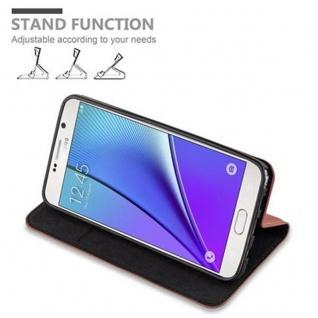 Cadorabo Hülle für Samsung Galaxy NOTE 5 in CAPPUCCINO BRAUN - Handyhülle mit Magnetverschluss, Standfunktion und Kartenfach - Case Cover Schutzhülle Etui Tasche Book Klapp Style - Vorschau 4