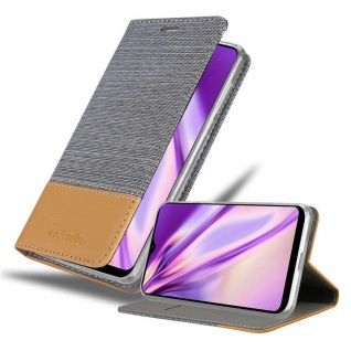 Cadorabo Hülle für Samsung Galaxy A21 in HELL GRAU BRAUN Handyhülle mit Magnetverschluss, Standfunktion und Kartenfach Case Cover Schutzhülle Etui Tasche Book Klapp Style
