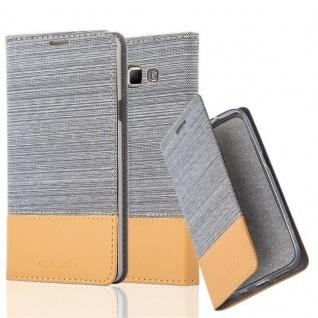 Cadorabo Hülle für Samsung Galaxy A7 2015 in HELL GRAU BRAUN - Handyhülle mit Magnetverschluss, Standfunktion und Kartenfach - Case Cover Schutzhülle Etui Tasche Book Klapp Style