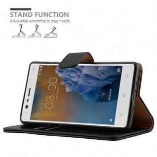 Cadorabo Hülle für Nokia 3 2017 in GRAPHIT SCHWARZ ? Handyhülle mit Magnetverschluss, Standfunktion und Kartenfach ? Case Cover Schutzhülle Etui Tasche Book Klapp Style - Vorschau 5