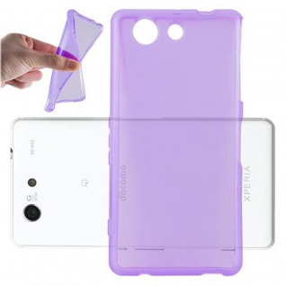Cadorabo Hülle für Sony Xperia Z4 MINI / Z3 PLUS COMPACT - Hülle in TRANSPARENT LILA â€? Handyhülle aus TPU Silikon im Ultra Slim 'AIR' Design - Ultra Slim Soft Backcover Case Bumper