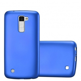 Cadorabo Hülle für LG K10 2016 in METALLIC BLAU - Handyhülle aus flexiblem TPU Silikon - Silikonhülle Schutzhülle Ultra Slim Soft Back Cover Case Bumper