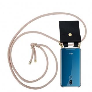 Cadorabo Handy Kette für LG K40 in PERLIG ROSÉGOLD - Silikon Necklace Umhänge Hülle mit Gold Ringen, Kordel Band Schnur und abnehmbarem Etui ? Schutzhülle