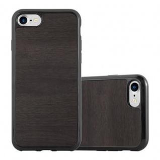 Cadorabo Hülle für Apple iPhone 7 / iPhone 7S / iPhone 8 in WOODEN SCHWARZ ? Handyhülle aus flexiblem TPU Silikon ? Silikonhülle Schutzhülle Ultra Slim Soft Back Cover Case Bumper