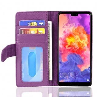 Cadorabo Hülle für Huawei P20 in BORDEAUX LILA ? Handyhülle mit Magnetverschluss und 3 Kartenfächern ? Case Cover Schutzhülle Etui Tasche Book Klapp Style