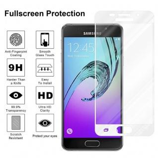 Cadorabo Vollbild Panzer Folie für Samsung Galaxy A7 2016 - Schutzfolie in TRANSPARENT mit WEISS - Gehärtetes (Tempered) Display-Schutzglas in 9H Härte mit 3D Touch Kompatibilität - Vorschau 4