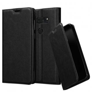 Cadorabo Hülle für LG V35 in NACHT SCHWARZ - Handyhülle mit Magnetverschluss, Standfunktion und Kartenfach - Case Cover Schutzhülle Etui Tasche Book Klapp Style