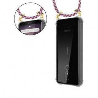 Cadorabo Handy Kette für Nokia 3.2 in ROT WEISS - Silikon Necklace Umhänge Hülle mit Gold Ringen, Kordel Band Schnur und abnehmbarem Etui ? Schutzhülle - Vorschau 5