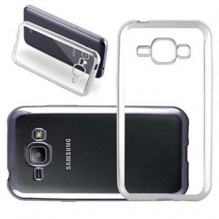 Cadorabo Hülle für Samsung Galaxy J1 2015 (5) - Hülle in TRANSPARENT mit CHROM SILBER - Handyhülle aus TPU Silikon im Chrom Design - Silikonhülle Schutzhülle Ultra Slim Soft Back Cover Case Bumper