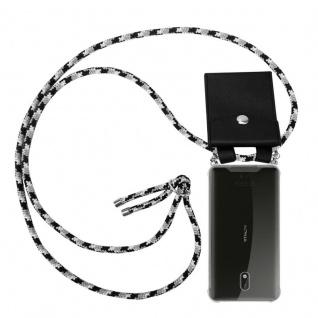 Cadorabo Handy Kette für Nokia 3 2017 in SCHWARZ CAMOUFLAGE - Silikon Necklace Umhänge Hülle mit Silber Ringen, Kordel Band Schnur und abnehmbarem Etui - Schutzhülle