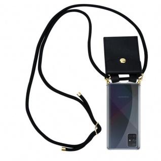 Cadorabo Handy Kette für Samsung Galaxy A71 in SCHWARZ Silikon Necklace Umhänge Hülle mit Gold Ringen, Kordel Band Schnur und abnehmbarem Etui Schutzhülle
