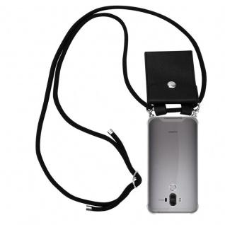 Cadorabo Handy Kette für Huawei MATE 9 in SCHWARZ - Silikon Necklace Umhänge Hülle mit Silber Ringen, Kordel Band Schnur und abnehmbarem Etui - Schutzhülle