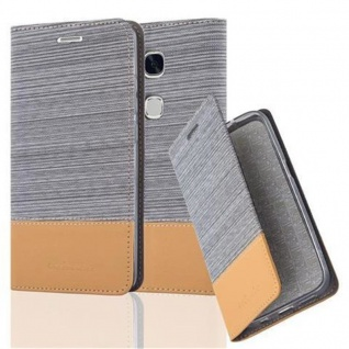 Cadorabo Hülle für Huawei Honor 5X / Play 5X / Huawei GR5 in HELL GRAU BRAUN - Handyhülle mit Magnetverschluss, Standfunktion und Kartenfach - Case Cover Schutzhülle Etui Tasche Book Klapp Style