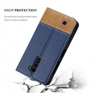 Cadorabo Hülle für LG K10 2016 in DUNKEL BLAU BRAUN - Handyhülle mit Magnetverschluss, Standfunktion und Kartenfach - Case Cover Schutzhülle Etui Tasche Book Klapp Style - Vorschau 5
