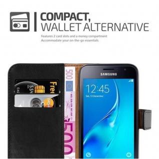 Cadorabo Hülle für Samsung Galaxy J1 2016 in GRAPHIT SCHWARZ - Handyhülle mit Magnetverschluss, Standfunktion und Kartenfach - Case Cover Schutzhülle Etui Tasche Book Klapp Style - Vorschau 5