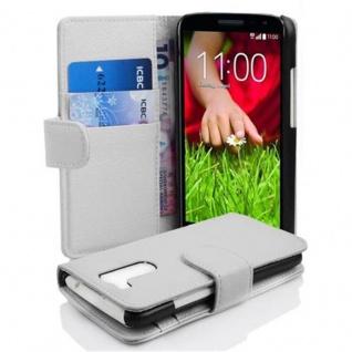 Cadorabo Hülle für LG G2 MINI - Hülle in MAGNESIUM WEIß ? Handyhülle mit Kartenfach aus struktriertem Kunstleder - Case Cover Schutzhülle Etui Tasche Book Klapp Style