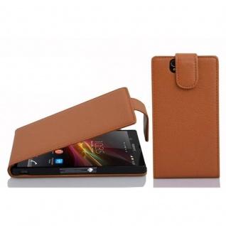 Cadorabo Hülle für Sony Xperia Z in COGNAC BRAUN - Handyhülle im Flip Design aus strukturiertem Kunstleder - Case Cover Schutzhülle Etui Tasche Book Klapp Style
